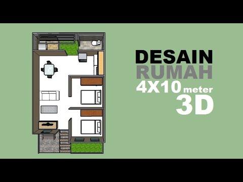 Rumah lahan sempit, Desain Rumah 4X10 meter 3D