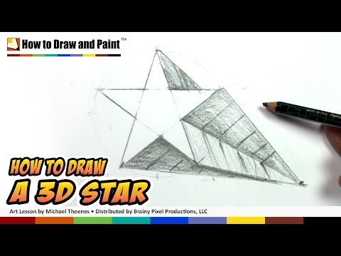 How to Draw a 3D Star Shape - Art for Kids -Draw a Star in One-point Perspective   MAT
