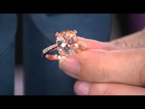Diamonique Simulated Morganite Ring, Sterling or 14K Rose Clad with Jacque Gonzales