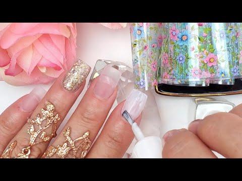 Uñas acrilicas - Uñas Acrílicas chiquitas  palo de Rosa Transparente + Foil