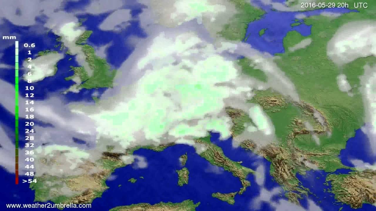 Precipitation forecast Europe 2016-05-27