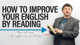 "How can reading improve your English? What reading strategies can you use to improve your vocabulary, pronunciation, fluency, and enunciation? In this instructional and motivational video, I tell you how picking up a book can not only help you to improve your vocabulary but your speaking confidence and presentation skills as well. Watch the lesson, and let me know some of your favourite books in the comments section! https://www.engvid.com/how-to-improve-your-english-by-reading/TRANSCRIPTHey, everyone. I'm Alex. Thanks for clicking, and welcome to this lesson on ""How to Improve Your English By Reading"". So, it might be very obvious how reading can help you improve, you know, your speaking in English, particularly your vocabulary, but there are a number of reasons and a number of things that reading regularly and reading in specific ways can actually help you to improve your English, and also not only like your reading English, but your ability to speak properly or to speak confidently. And again, this applies not only to English as a second language learners, but also to English speakers, period. So pick up a book, and here's how picking up a book can help you to improve your English.So, number one: You can improve your English by picking up any book, reading out loud, and exaggerating what you're reading. You might think: ""This sounds ridiculous"", but if you are a second language learner, this is a fantastic way to improve your enunciation, your pronunciation, and presentation skills. Even if you're not a second language learner... English as a second language learner.So, for example, it doesn't matter what type of genre you like, what type of books you like. Me, personally, I love science-fiction, I love fantasy. And I can turn to, you know, pages in any of these books and read out loud, exaggerate what I'm saying, and just the act of doing this, of speaking out loud what I'm reading makes me feel, again, more confident speaking in front of an audience, for example.So I'll just open to a random page here and... Okay, so in this book, just so you know, there's a horse, his name is Artaq. And it says: ""Artaq did not hesitate. He veered toward the Silver River. The wolves came after, soundless, fluid, black terror. Will was sure that this time they would not escape. Allanon was no longer there to help them. They were all alone.""Now, what you notice is I'm... I'm trying to exaggerate: ""They were all alone."" Even like my l's. And focus on every letter when you're reading, because this type of reading, reading out loud, exaggerating, if you are a professional, this is a great way to build that clarity in your speech when you're speaking in front of people, and pacing yourself, how fast you speak as well is important, obviously, when you're giving a presentation.This second part... Again, this one can apply to both native speakers of English, but it's more specifically geared towards English as a second language speakers, and that is: Paying attention to word endings. And especially ""ed"" and ""s"" endings. So, specifically past tense words, like ""wanted"", okay? Or plural words, like ""hawks"" instead of one hawk, because a lot of, again, English as a second language learners sometimes forget the ""ed"" ending when they're reading. I've taught classes where, you know, students have to read out loud, and they're so focused on reading and getting the words correct, but the pronunciation, they just drop the ends of words sometimes, especially ""ed"", especially ""s"".So let me see if I can quickly find an example. Okay, here's one: ""When he stayed on his feet..."" When he... Oh, why am I pointing? You can't see that. You can't see that. So: ""When he stayed on his feet"" this is one part of the sentence. Again, you have the verb ""stayed"", so some new learners of English will sometimes read that as: ""When he stay"", ""When he stay"", and they just drop the end. So please, please, please focus on those ""ed"" and ""s"" endings, and this will really help your fluency, the ability of others to understand you, as well as your enunciation. ""Stayed"", okay?Number three: Pay attention to punctuation. Now, punctuation refers to the use of commas, periods, question marks, exclamation marks when you're reading. By paying attention to these things, you can actually focus on improving your intonation and your fluency; two specific things. So, the intonation refers to the up and down movement of your voice when you are saying something or reading something. So, for example, you know, raise... In the second part I said: ""Raise intonation for yes or no questions."" So if you notice when you're reading that, you know, this person is asking a yes or no question, then your voice should be moving up at the end. And, you know in speaking, this also improves that.So, for example, in this book there is... Okay, here's a yes or no question, the question is: ""Did you find her?"""
