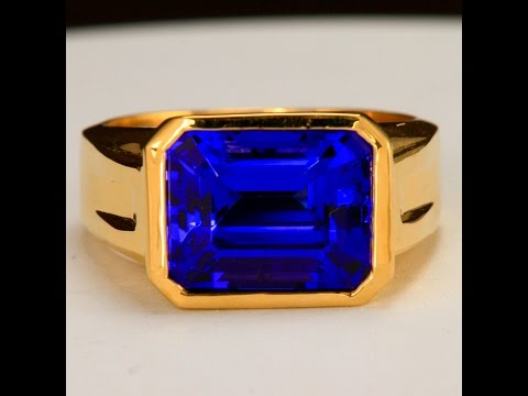 Tanzanite Mens Ring in 18 Kt. Gold