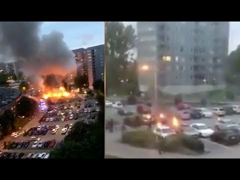 80-100 Cars Set On Fire In Sweden! Explosions Drive Polls Right.