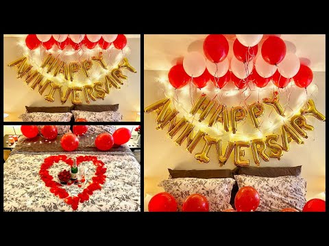 Anniversary Decoration Ideas at home | Romantic Room Decor Ideas - Party Decorations.