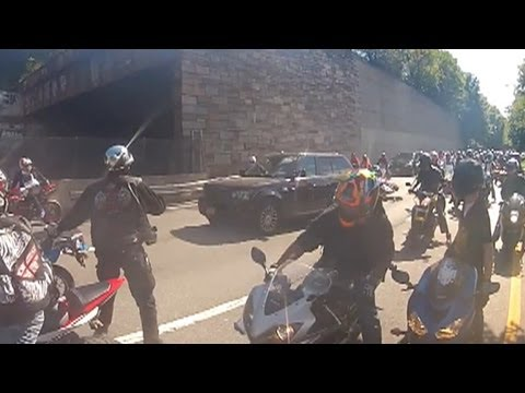 Motorcycle - A family in an SUV was involved in a melee with 20 to 30 bikers in New York City.