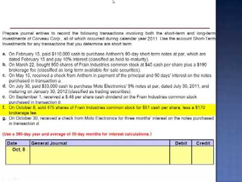 Short Term & Long Term Investment Transactions Exercise 15-8