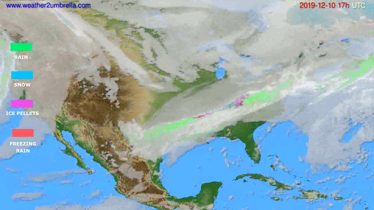 Precipitation forecast USA & Canada // modelrun: 12h UTC 2019-12-09