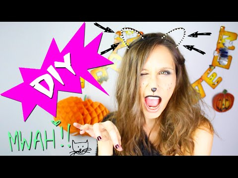 DIY HALLOWEEN : SERRE-TETE CHAT DEGUISEMENT - COSTUME PETIT BUDGET - cat ears headband ariana grande