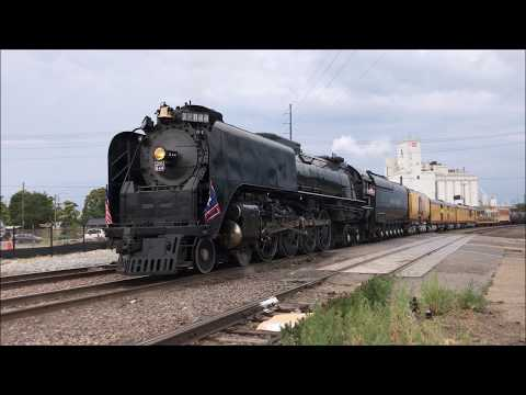 Union Pacific 844 Pulls a Freight Train Out of Denver, CO