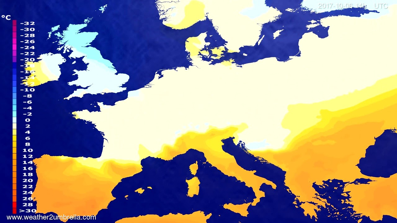 Temperature forecast Europe 2017-10-02