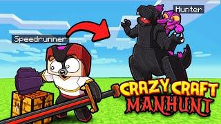 Manhunt CRAZY CRAFT 2! (Speedrunner vs 2 Hunters)