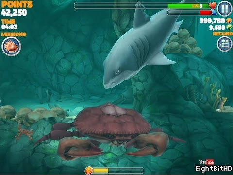 Hungry Shark Evolution: Defeating Giant Crab With Megalodon Gameplay HD 1080p