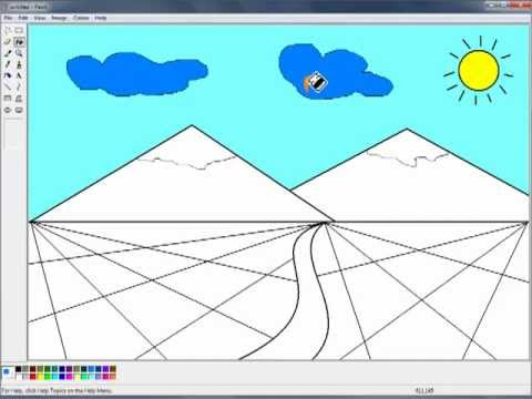 draw a mountain with ms paint mp4 langkah langkah melukis