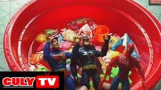CulyTV giới thiệu câu chuyện đồ chơi vui nhộn - Phim hoạt hình đồ chơi ngắn : - Siêu nhân người nhên người dơi thi câu cá trong thau superman spiderman batm...