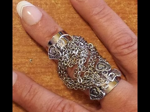 anello doppio con catene e charms - Tutorial Bijoux