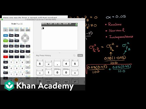Hypothesis Test For Difference In Proportions Video Khan Academy