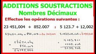Maths 6ème - Additions et soustractions de nombres décimaux Exercice 2