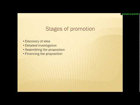 Company law - formation, promotion, and incorporation of a company  10 lecture