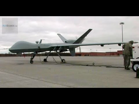 UAV - An MQ-9 Reaper (Predator B ) takes off from Wheeler Sack Army Airfield (WSAAF) at Fort Drum, New York on 05 April 2012. The MQ-9 is from the 174th Fighter Wi...