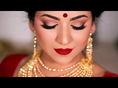 DURGA PUJA MAKEUP/TRADITIONAL BENGALI MAKEUP TUTORIAL 2019 (Gold Glitter eyes)