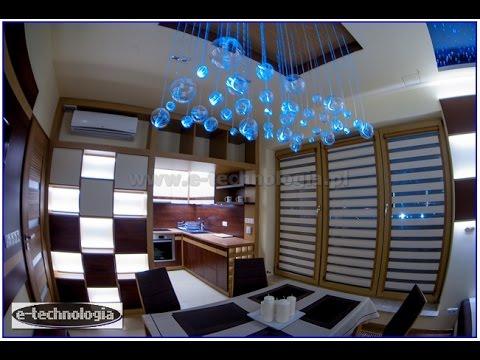 paski LED montaż w salonie z kuchnią - podświetlenie mebli LED
