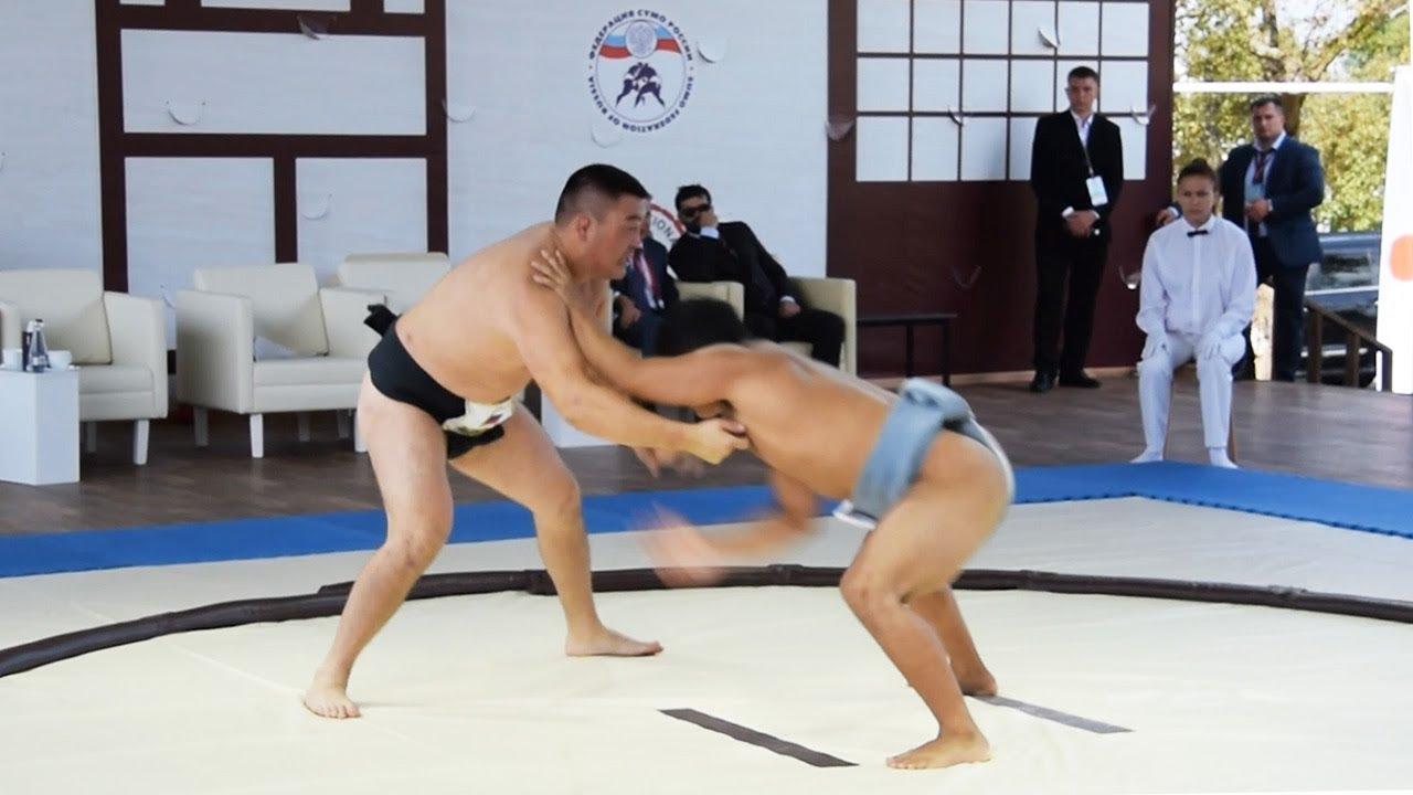 東方経済フォーラム会場で日ロチームが親善相撲 ロシア・ウラジオストク - YouTube