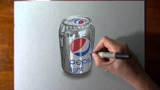 This is a realistic DRAWING, watch me draw this Pepsi can! How to draw a Pepsi can, mixed media on gray paper by Marcello Barenghi - Italian Art.http://www....