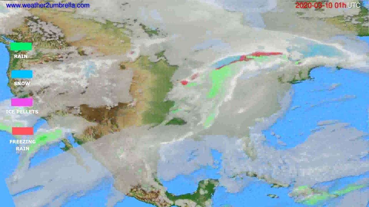 Precipitation forecast USA & Canada // modelrun: 12h UTC 2020-03-08