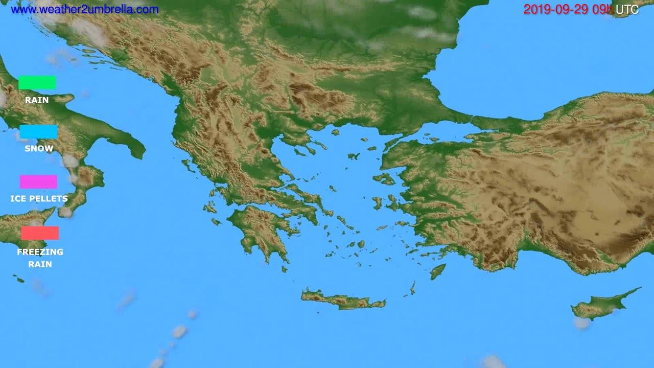 Precipitation forecast Greece // modelrun: 12h UTC 2019-09-27