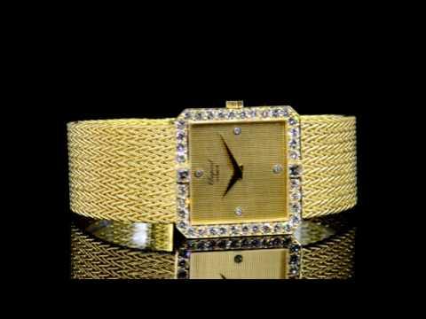 18k Yellow Gold Chopard Mechanical Manual Winding Wristwatch with Diamond Dial
