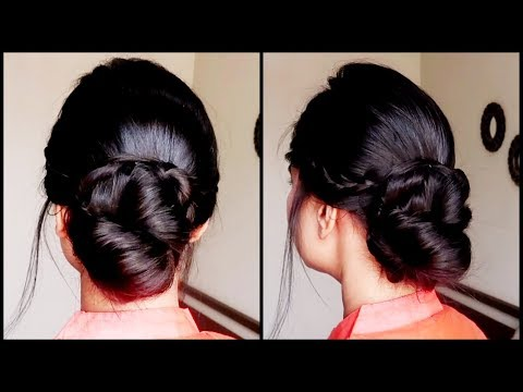Braid hairstyles - Quick Braided Bun with FRENCH LACE BRAID//indian wedding guest hairstyles for medium to long hair