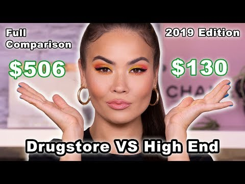 DRUGSTORE VS HIGH END MAKEUP - 2019 EDITION - Can you tell the difference? | Maryam Maquillage