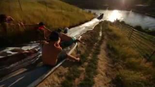 human slip-and-slide slingshot VOORAY