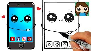 Follow along to learn how to draw this cute phone step by step easy.  Latest, newest iPhone, Samsung Galaxy. Smartphone, Mobile Phone, Cell Phone, Digital Phone. What are your favorite apps on your phone. Youtube, Facebook, Instagram or Music? =) So many options!