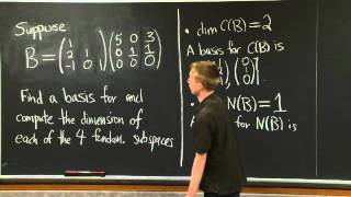 Computing The Four Fundamental Subspaces | MIT 18.06SC Linear Algebra, Fall 2011