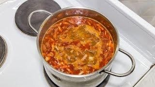 Cолянка домашняя, суп с колбасой