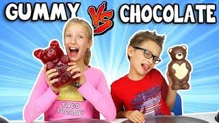 Video GUMMY vs CHOCOLATE Food Challenge!!! MP3, 3GP, MP4, WEBM, AVI, FLV September 2018