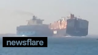 Video Two container ships collide on Suez Canal MP3, 3GP, MP4, WEBM, AVI, FLV Maret 2019