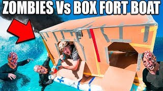 24 HOUR BOX FORT ZOMBIES 📦😱 Zombies Vs Box Fort Boat Base!!