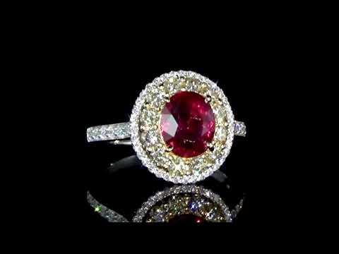 經GRS鑑定3.02克拉未經加熱處理紅寶石鑲鑽石戒指