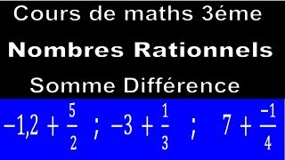 Maths 3ème - Les nombres rationnels Addition et Soustraction Exercice 29