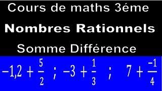 Maths 3ème - Les nombres rationnels Addition et Soustraction Exercice 29