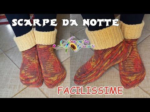 Scarpe da Notte SEMPLICISSIME all'Uncinetto SENZA diminuzioni | How to crochet socks