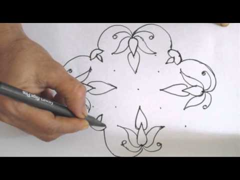 Learn 7x3 dot Rangoli Design - Traditional Indian Art
