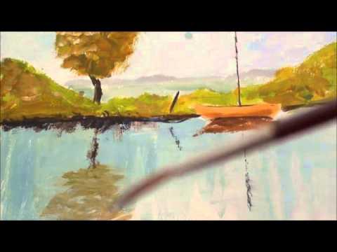 Malen mit Acryl: Stehendes Wasser, Reflektionen