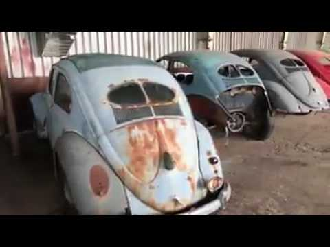 Classic VW BuGs Vintage Split Oval Window Garage Barn Find Stash in Bulgaria Eastern Europe