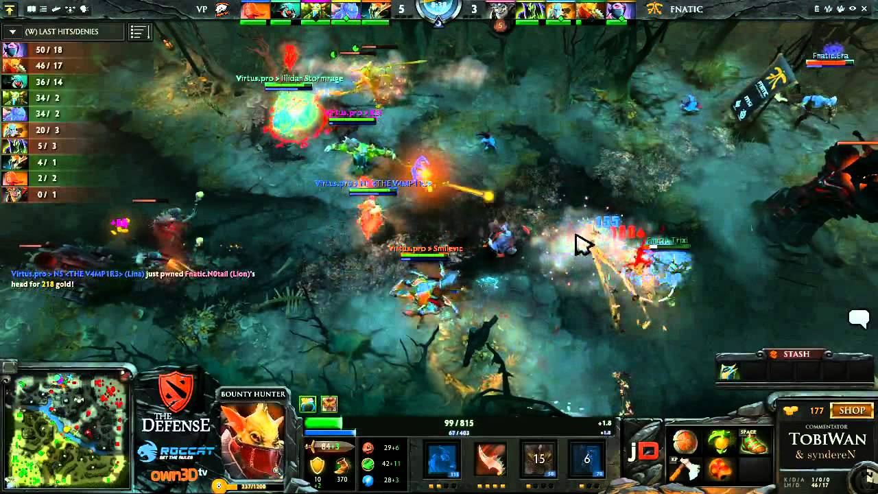 Virtus Pro vs Fnatic EU Game 1 – The Defense 3 DOTA 2 Grand Final – TobiWan & Synd