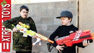New Nerf Blaster Battle! Ethan Attacks Cole with Nerf Modulus Longstrike.