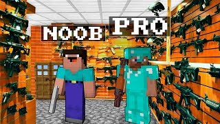 Video Noob vs Pro : GUN SHOP Minecraft Battle animation challenge MP3, 3GP, MP4, WEBM, AVI, FLV Juni 2019